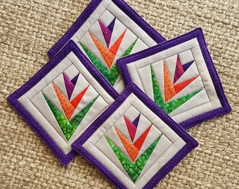 "Bird of Paradise Coaster Set, Paper Pieced, Quilted, Large sized at 5.5"" Square"