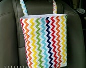 Rainbow Chevron - Reusable Auto Trash Bag from green by mamamade