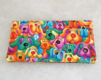 Checkbook Cover - Rainbow dogs