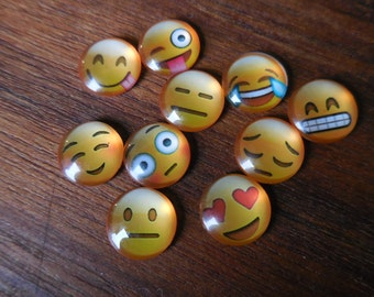 25 c Emoji Emoticon Smiley Facey Happy Sad Winking Cabochon Glass findings DIY Assemblage Art Jewelry Making Supplies