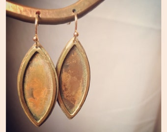 Simple rustic copper and brass leaf earring