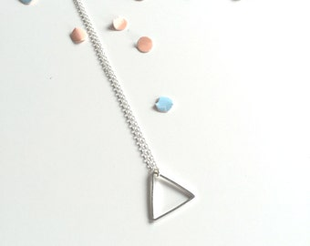 Geometric triangle necklace on sterling silver chain