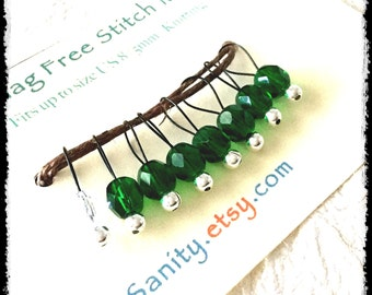 Snag Free Stitch Markers Small Set of 8 - Green Faceted Glass -- K12 -- Up to size Us 8 (5.0mm) Knitting Needles