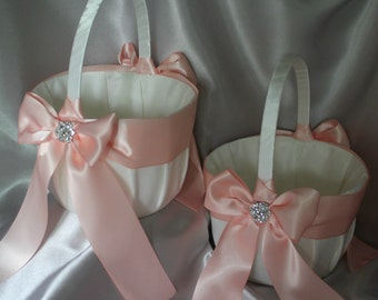 2 Large-White/Ivory Flower Girl Baskets-Pale Peach/Blush-Rhinestone Accent-Custom Ribbon Colors-Flower Girls Age 8+