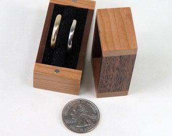 Double Ring Box, Single Ring Box, Cherry and Walnut Ring Box, Ring Bearer Pillow Box