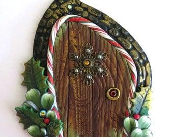 Snowflake Elf Door, Pixie Portal , Miniature Fairy Door for the Holidays, Polymer Clay Christmas Wall Decor