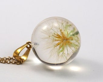 Golden Dandelion Pendant, Beautiful Blowball with Red Seeds in Gold, Real Dandelion in Clear Resin with Gold Chain,Unique Christmas Gift