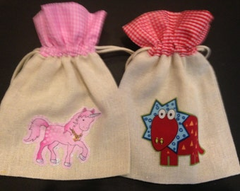 Fabric Gift Bags, Two, Dinosaur and Unicorn
