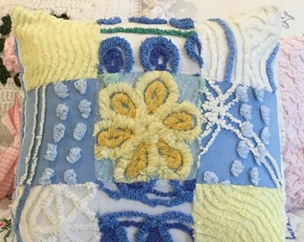 """Vintage Chenille Patchwork Cottage Pillow Case made from chenille Bedspread 14""""X 14"""""""