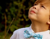 Boys blue white bow tie, boy's tropical bow tie, hawaiian bow tie, floral bow tie, tropical wedding bow tie, baby bow tie, toddler bow tie