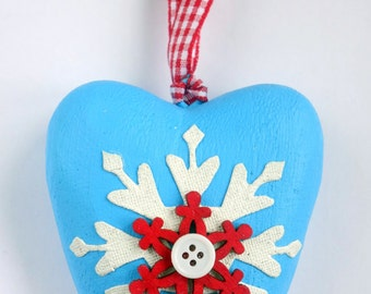 Blue, white & red wood heart Christmas ornament: Colourful snowflake decoration, button, gingham ribbon