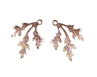Rose Gold Plated Leaf Charms - mirrored (4X) (M564-D)