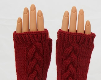 Crayon Red Wool Arm Warmer Fingerless Mitts or Gloves