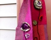 SALE Whimsical Flower Art To Wear Scarf Earthy Recycled Felted Wool Floral