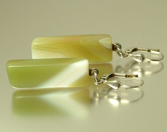 Vintage/ estate 1980s 925 lever back sterling silver and green agate drop costume earrings - jewelry jewellery - gemstone, semi precious