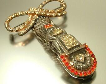 Vintage/ estate 1930s 1940s Art Deco, rhinestone / paste/ glass, geometric, costume brooch / pin - jewelry jewellery , UK seller