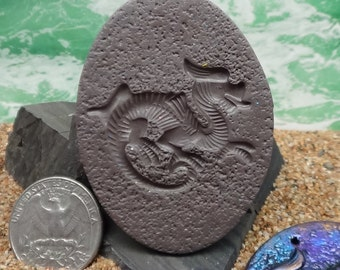 Crouching Dragon - Mold with textured background - use with Polymer Clay, paper clay, metal clay