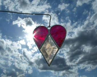 Stained Glass Sun Catcher with Beveled Glass Diamond, Heart Ornament , Valentine Gift Under Twenty, Just Because Gift, Glass Heart