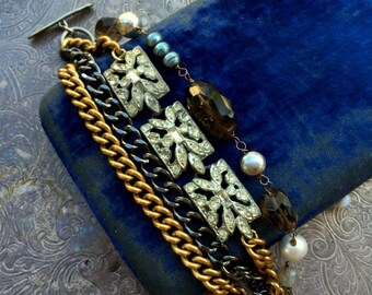 Vintage Art Deco Rhinestone, Baroque Pearls, Pyrite and Gemstone One of a Kind Bracelet...Charade Two