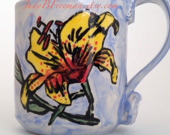 Ceramic Mug Yellow Daylily Flower on Blue Cup Stoneware Cup Handmade 9 ounces Ready to Ship MG0012 Gift for Mom
