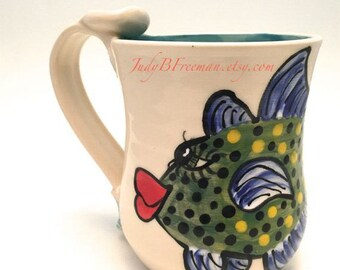 Stoneware Mug Coffee Cup with Handpainted Fish Bluefin Trevaly Ready to Ship 16 Ounces Wheel Thrown MG0015