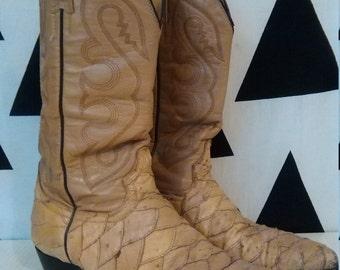 rare! vtg 70s womens tan beige leather cowboy riding biker boots fish scale patchwork leather fishscale UK 7 eu40 USA9.5