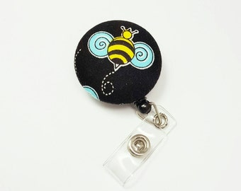 Retactable ID Badge Reel / ID Badge Holder / Name Badge Clip / Badge Pull / Nurse Badge Reel / Retractable Badge Holder - Bumblebee