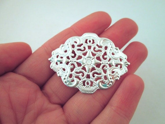 34x44mm silver plated filigree stampings, pick your amount, B34