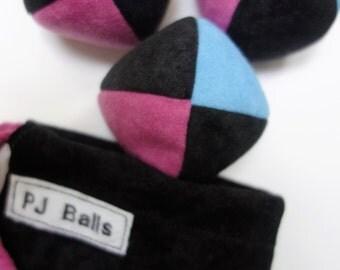 105g - 3 beginner JUGGLING BALLS With Bag - Black, Light Blue, and Pink PJ Balls