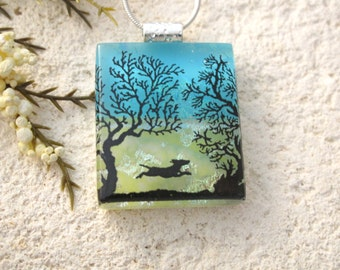 Dog Necklace, Dichroic Glass Jewelry, Dichroic Pendant, Glass Jewelry, Necklace Included, Dichroic Glass Jewelry, Park Necklace, 042716p110