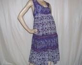 Purple Hippie Dress Vintage NOS Paisley Boho India Batik Light Cotton Dress 1970s 70s Hippie Gypsy Dress Adult Rare Plus Size 46 Bust