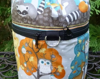 Owl knitting bag, knitting in public drawstring bag, knitting project bag, Owl and Friends, WIP, Kipster