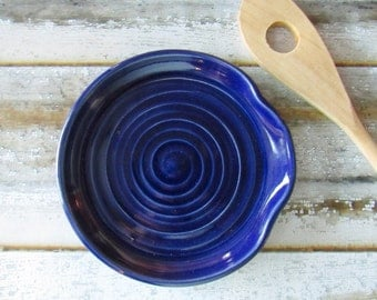 Spoon Rest - Ladle Rest - Glazed in cobalt blue, deep blue - Ready to ship, Handmade studio pottery