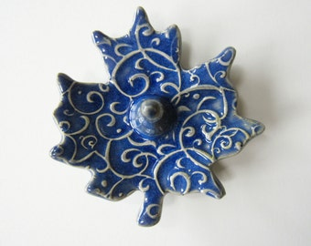 Blue Leaf Ring Dish - Deep Cobalt Blue ring holder - Jewelry organization