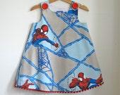Spider-Man Superhero Comics Girls Dress - Comic Book Graphic Novel Red & Blue Spidey Web -Sizes Newborn to Girls 6 - Children's Clothing