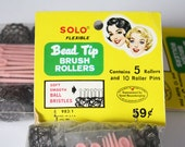 Vintage Brush Rollers – Solo Small Flexible Bead Tip Wire Mesh Brush Hair Curlers with Pink Plastic Pins