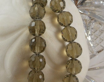 Crystal Beads 12mm Faceted Round Disco Balls MediumSmoky Quartz (Qty 6) PH-DB12-MSQ
