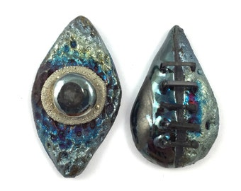 Set of 2 Raku Ceramic Cabochons Raku Jewelry Supply      Handmade by MAKUstudio
