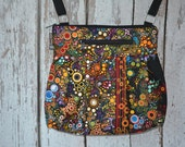 iPad Purse Kindle Handbag iPad Shoulder Bag Nook Purse Padded Electronics Pocket MEDIUM HOBO BAG Happy Fabric