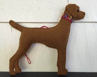 Viszla Dog Friend Ornament, Handsewn, 2-sided 100% Wool