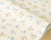 Japanese Fabric - Yuwa Daisy and Rose - blue, red, green on cream - fat quarter