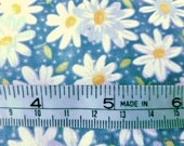 One Half Yard Cut Quilt Fabric, White Daisies, Yellow Centers, Pin Dot Blue, Fabric Traditions, Sewing-Quilting-Craft Supplies