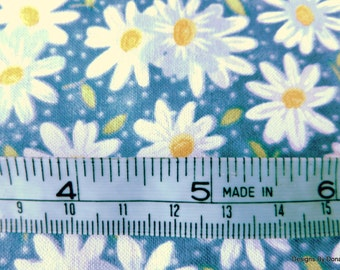 One Half Yard Cut Quilt Fabric, Small White Daisies With Yellow Centers, Pin Dot Blue, Fabric Traditions, Sewing-Quilting-Craft Supplies