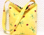Dragonflies Purse - Ladybugs Purse - Yellow Hobo Bag - Ladies Handbag - Shoulder Bag - Handmade Purse - Ladies Purse - Handmade Gift for Her