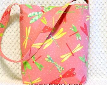 Dragonfly Purse - Dragonflies Fabric Hobo Bag Purse - Handmade Ladies Shoulder Bag - Hot Pink and Lime Green Dragonflies Handbag - For Her