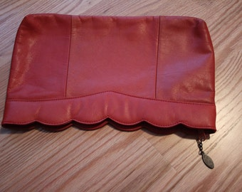 VINTAGE autumn orange 1980s CLUTCH PURSE