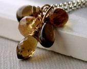 Valentine's Sale. Golden Woodland Cluster Necklace