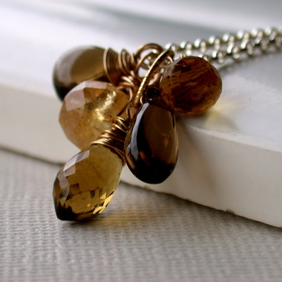 Gemstone Pendant Necklace. Golden Woodland Cluster Necklace. Topaz Necklace. Autumn Necklace. Citrine Necklace.