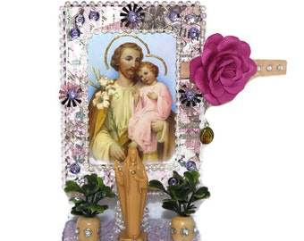 St Joseph Alter//Jesus Statue//Ofrenda Decorations//Catholic Saint Shrine//Mexican Plaque