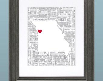 Kansas City Word Art Map 8x10 Inch Printable